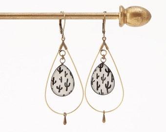 drop hoop earrings resin graphic black and white cactus