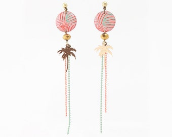 Necklace with Palm tree tropical motif Stud Earrings resin coral Palm