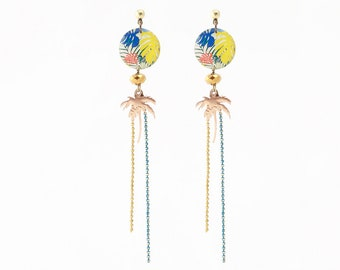 Necklace with Palm tree tropical pattern resin Stud Earrings