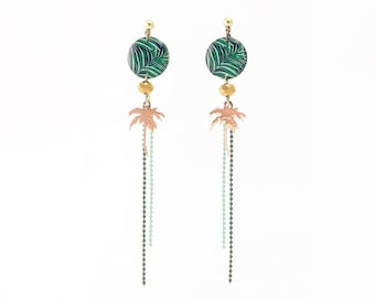 Necklace with Palm tree tropical motif Stud Earrings resin Green Palm