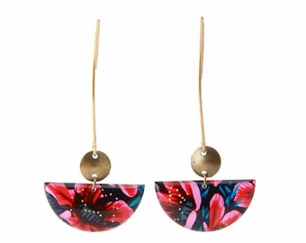 Crochet pink and black floral half moon earrings