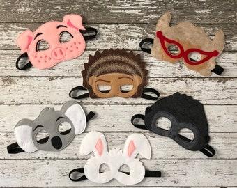 Sing Inspired Masks Sing Musical Sing Masks Rosita Pig Mask Buster Moon Koala Mask Ash Porcupine Mask Johnny Gorilla Mask Sing Play
