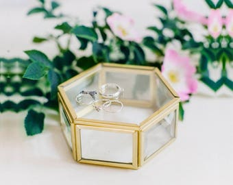Glass ring box, Wedding ring box, Geometric ring box, Ring bearer pillow, Ring bearer box, Hexagon Ring Box (JB15)