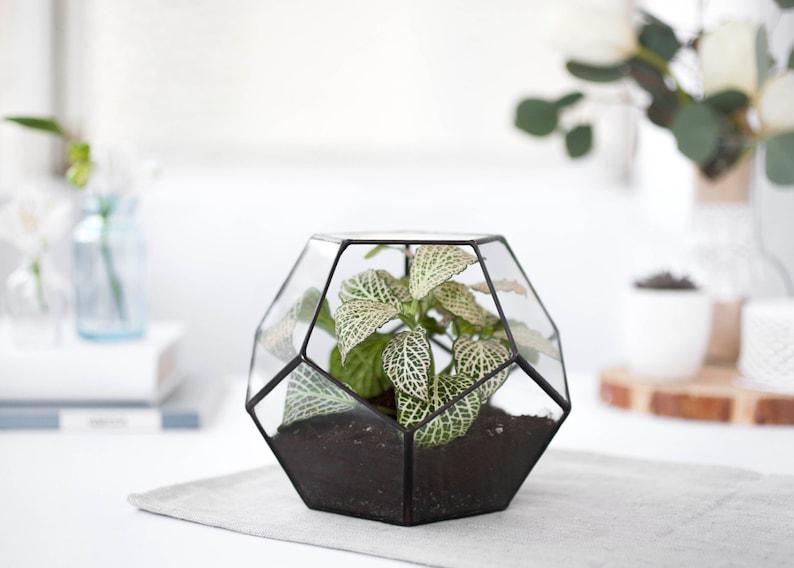 Glass Terrarium Geometric Container Geometric Planter Indoor Etsy