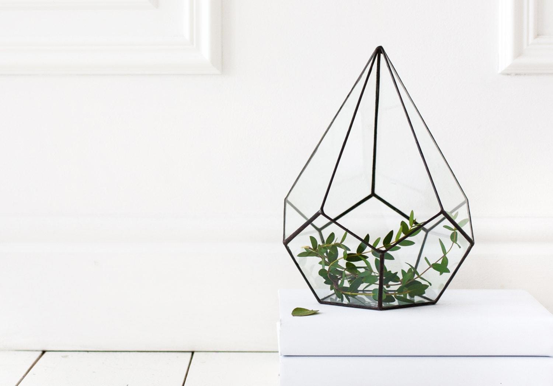 Terrarium en verre géométrique Terrarium, Terrarium en verre teinté, teinté, teinté, récipient de Terrarium, terrarium géométrique (M11) 9f363c