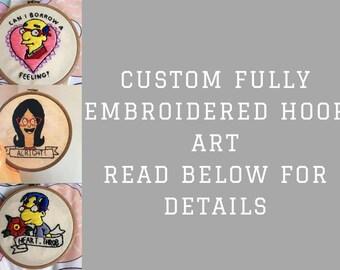 Custom fully embroidery hoop art