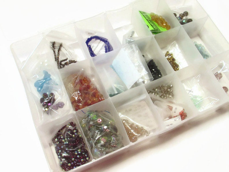 Lot of Czech Fire Polished Beads with Organizing Container