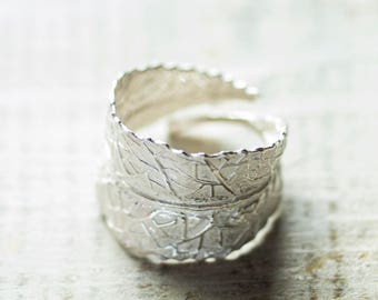 Silver Leaf Ring , Adjustable Ring, Statement Ring, Sterling Silver Ring, Large Ring