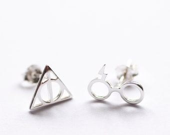 20605e97b Deathly Hallows Style Sterling Silver Earrings, Deathly Hallows Studs