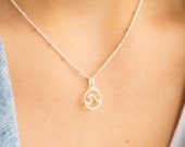 Wave Necklace, Wave Pendant, Sterling Silver Necklace, Beachcomber Necklace