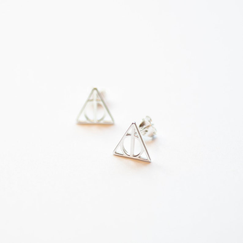 e7b1b8e68 Deathly Hallows Style Sterling Silver Earrings Deathly   Etsy