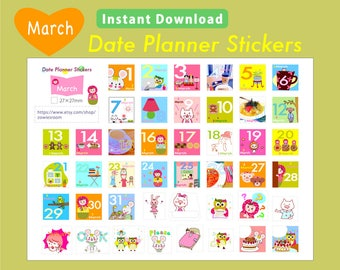 PRINTABLE Date Planner Stickers, MARCH