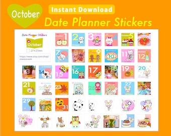 PRINTABLE Date Planner Stickers, OCTOBER