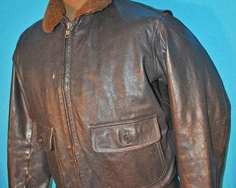 76815c91976 Vintage Flight Jacket Brown Leather Bomber - Mens 55J14 Buaer Brown Leather  Jacket