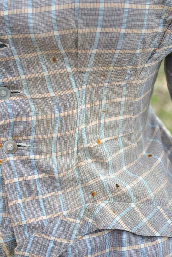 Antique Dress 1880 Plaid Cotton Bustle Dress, 2 P… - image 9