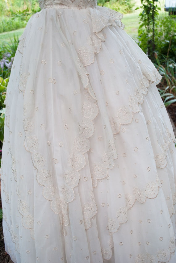 Vintage 1950's Prom Dress - Strapless party gown - image 7