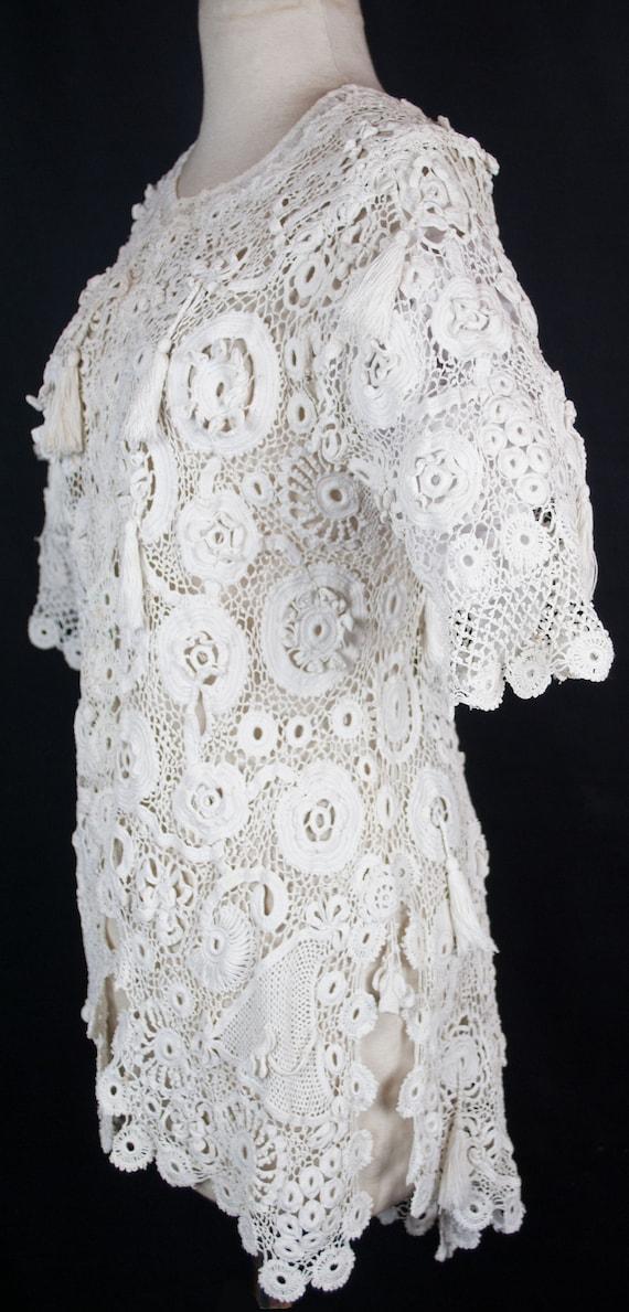 Antique Edwardian Irish Crochet Lace Jacket Coat