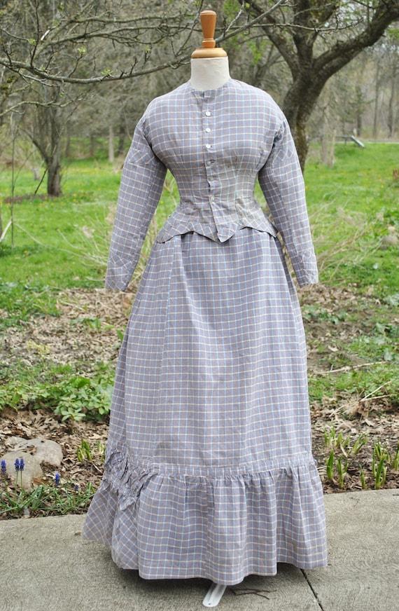 Antique Dress 1880 Plaid Cotton Bustle Dress, 2 P… - image 4
