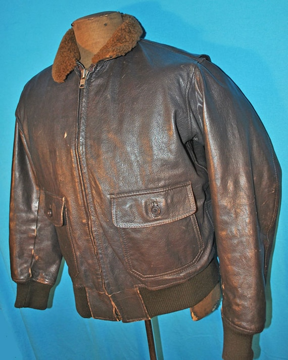 Vintage Flight Jacket Brown Leather Bomber -  Mens