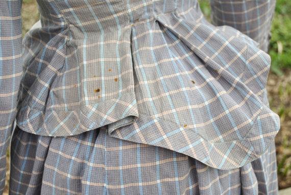 Antique Dress 1880 Plaid Cotton Bustle Dress, 2 P… - image 7