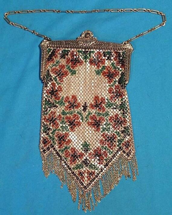Vintage 1920s Painted Enameled Mandalian Mesh Purs
