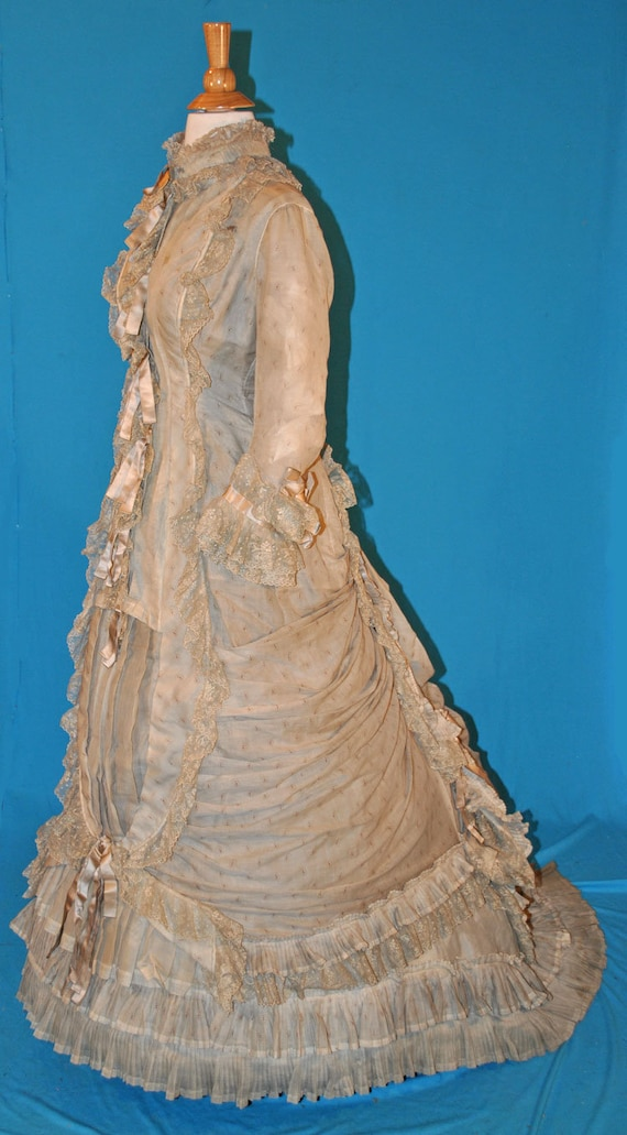 Antique Victorian 1870's Summer 1 Piece Walking Su