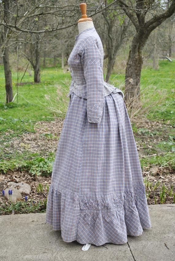 Antique Dress 1880 Plaid Cotton Bustle Dress, 2 P… - image 1