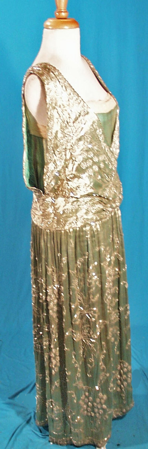 Edwardian Beaded Evening Gown 1912 Formal Green La