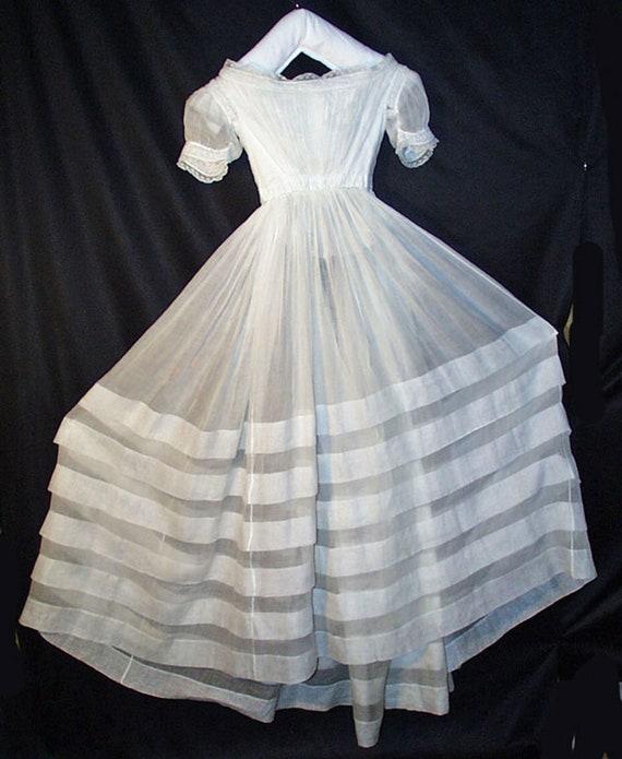 Antique Victorian White Cotton Lawn Dress - 1840's