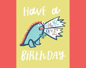 Have  a Rawrsome Birthday, A6 card