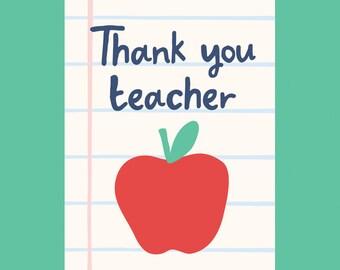 Thank You Teacher A6 card
