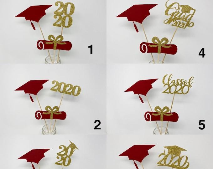 Graduation party decorations 2021, Graduation Centerpiece Sticks, Grad, Cap, Diploma, class of 2021, Graduation Decoration, prom 2021