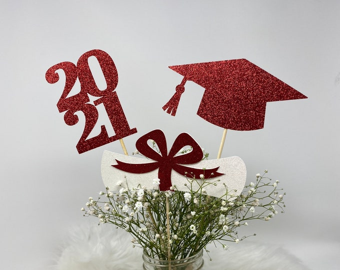 2021 Graduation Centerpiece, ALL GLITTER Graduation Centerpiece Sticks, Graduation Party Decorations, Class of 2021, Graduation Party Decor