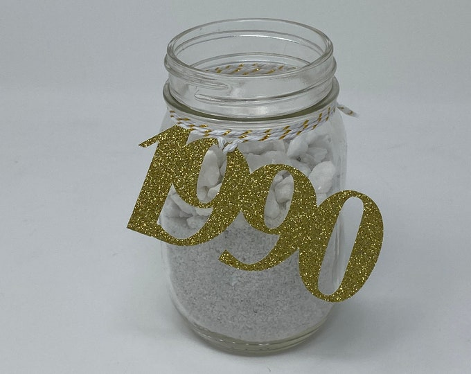 1990 Mason Jar Tags, Class Reunion 1990, Class Reunion Centerpiece, Class of 1990 Decoration, Class Anniversary, Prom, School, University