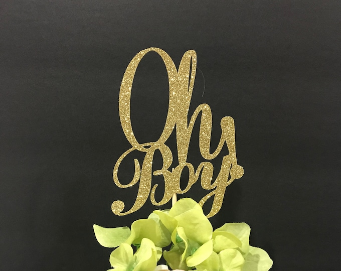 Oh Boy Centerpiece sticks, Baby Shower Glittery Topper, Topper Gender Reveal Party,  Baby Boy Table Decorations, Baby Shower Centerpiece