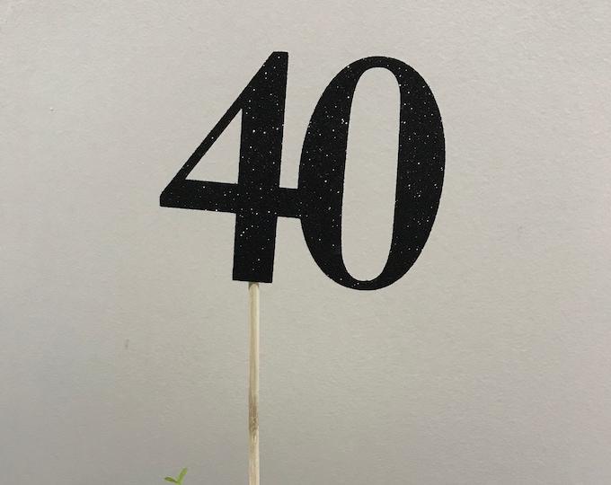 Set of 3 sticks, 40th Birthday Centerpiece Sticks, Glitter 40th Birthday Decoration, 40th Birthday Table Decorations, Age Cutouts