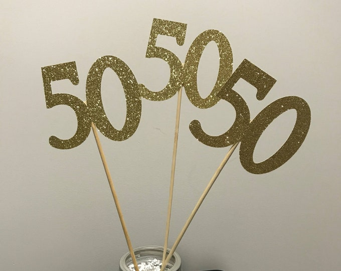 50th Birthday party decorations, 50th Birthday Centerpiece, Glitter 50th Stick, 50th Centerpiece Sticks, 50th Anniversary Party Centerpiece