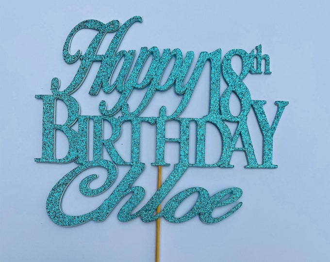Any Number!, Custom Birthday Cake Topper, 18th Cake Topper, Happy 18th Birthday Topper,  Any number, personalized 18th birthday decorations