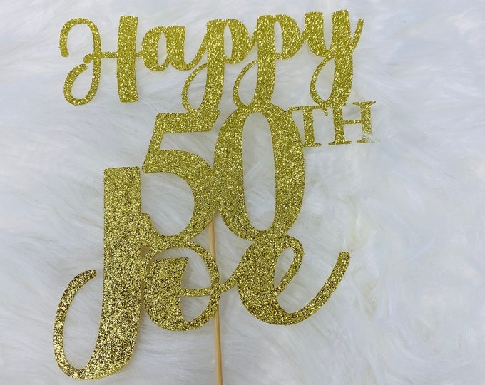 Any Number!, Custom Birthday Cake Topper, 50th Cake Topper, Happy 50th Birthday Topper,  Any number, personalized 50th birthday decorations