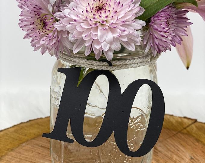 100th Birthday decorations, 100th Cutout, Glitter 100th Birthday Decoration, 100th Birthday Table Decorations, Age , 100th tags, Mason jar