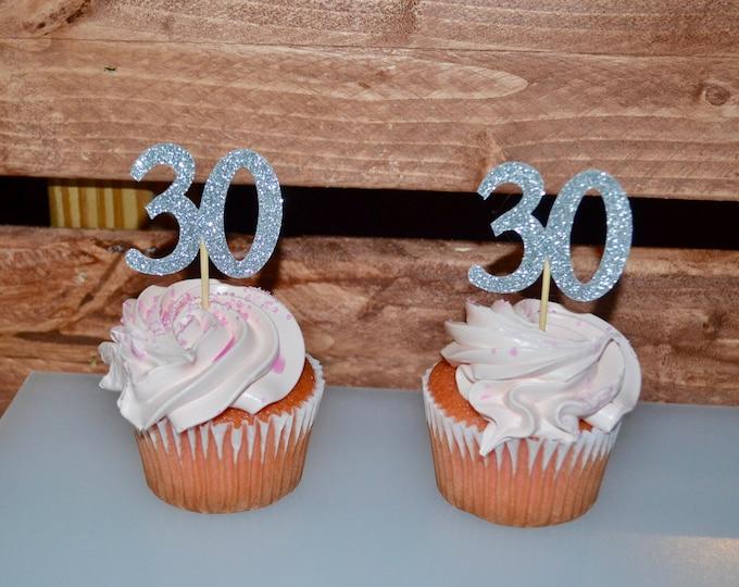 30 Birthday Cupcake Toppers, Birthday Decoration, 30th Birthday Party, Cupcake topper Glitter, 30 Anniversary