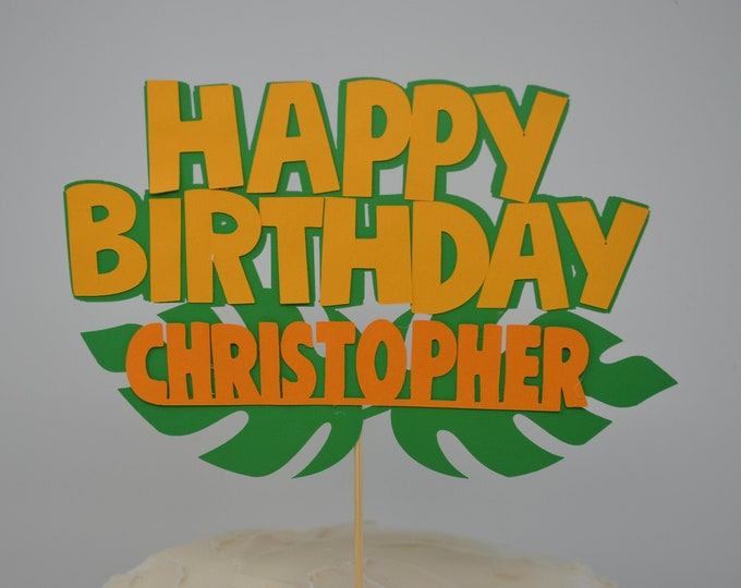 Happy Birthday cake topper, Jungle Party Safari Cake topper .  Safari Birthday Decoration. Jungle Birthday.