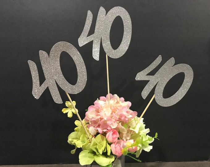 40th Birthday party decorations, 40th Birthday Centerpiece Sticks, Glitter 40th Birthday Decoration, 40th Birthday Table Decorations
