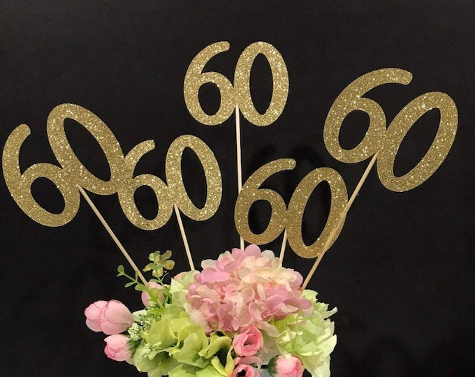 60th Birthday decoration, 60th Birthday Centerpiece Sticks, Glitter 60th, 60th Birthday Table, Age sticks, 60 Anniversary Set of 3 sticks,