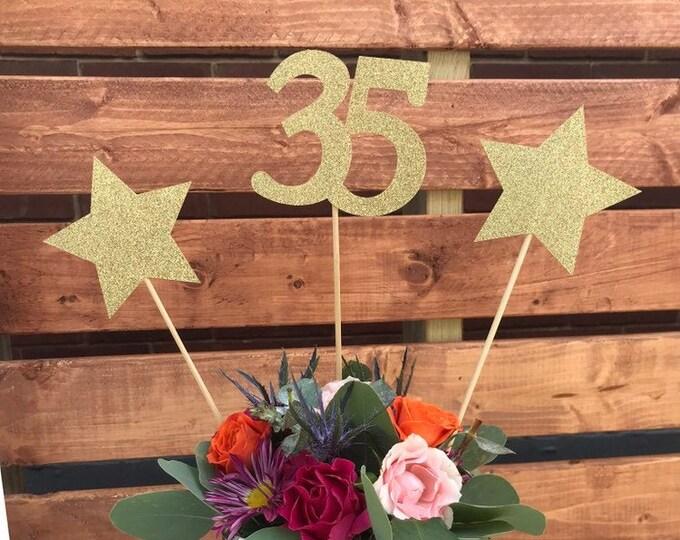 35th Birthday decoration, 35th Birthday Centerpiece Sticks, Glitter 35th Birthday Decoration, 35th Birthday Table, Age sticks, Anniversary