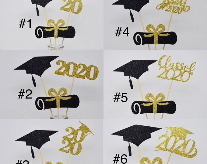 2020 Graduation decorations , Graduation Centerpiece Sticks, class of 2020, Graduation party Decoration, prom 2020 picks,ALL pieces GLITTER