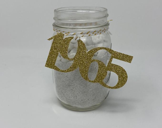 1965 Mason Jar Tags, Class Reunion 1965, Class Reunion Centerpiece, Class of 1965 Decoration, Class Anniversary, Prom, School, University