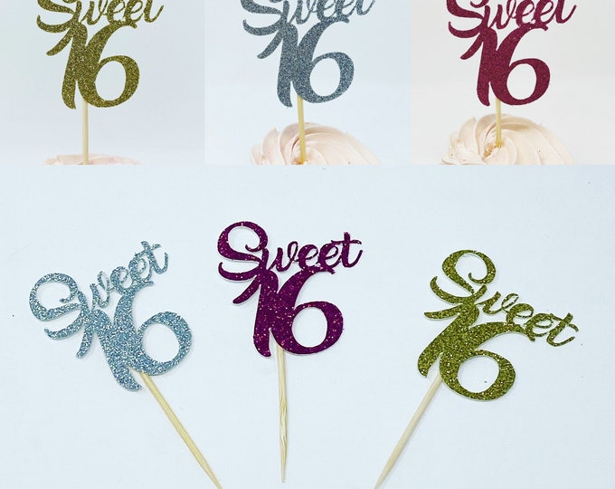 Sweet 16 cupcake topper, Sweet 16 Party Decorations, Sweet 16 Party Decor, Sweet 16 Birthday Party Cake Topper, Girl 16th Cupcake , 12 ct.
