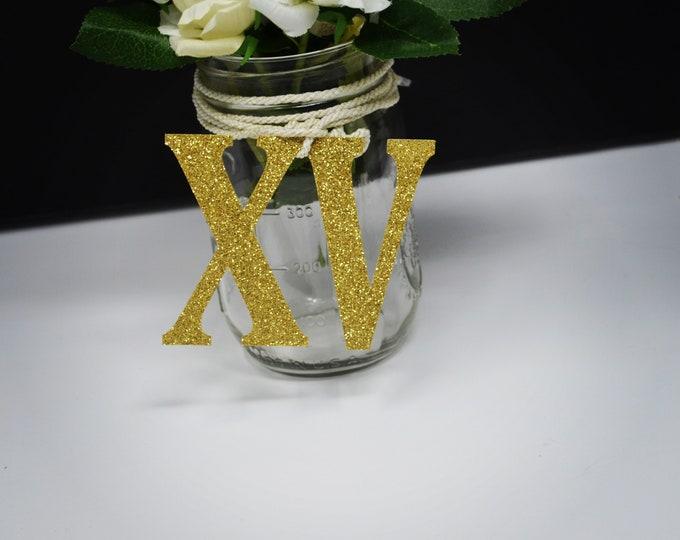 15th Birthday decoration, XV Centerpiece, Quinceañera Table Decorations, Mis quince Centerpiece, Number 15 tags, Mason jar tags