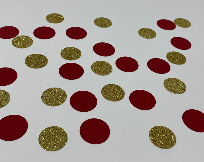 """1"""" Burgundy & Gold Glitter Confetti, Bridal Shower decor, Baby Shower Decorations, Engagement Party Decorations , Gold circle confetti"""